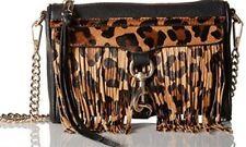 REBECCA MINKOFF MINI MAC LEOPARD FRINGE Shoulder Bag Clutch Crossbody Black NWT