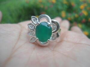 Natural-AVENTURINE-amp-White-CZ-Birthstone-925-STERLING-SILVER-RING-S6-5
