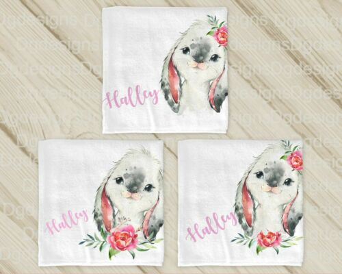 Personalised baby square BURP CLOTH *BIB*WASH CLOTH *X 3  BUNNY
