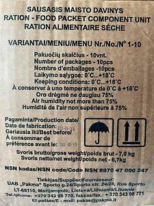 Lithuania MRE box 1-10, Sof 8 hour combat rations 2022