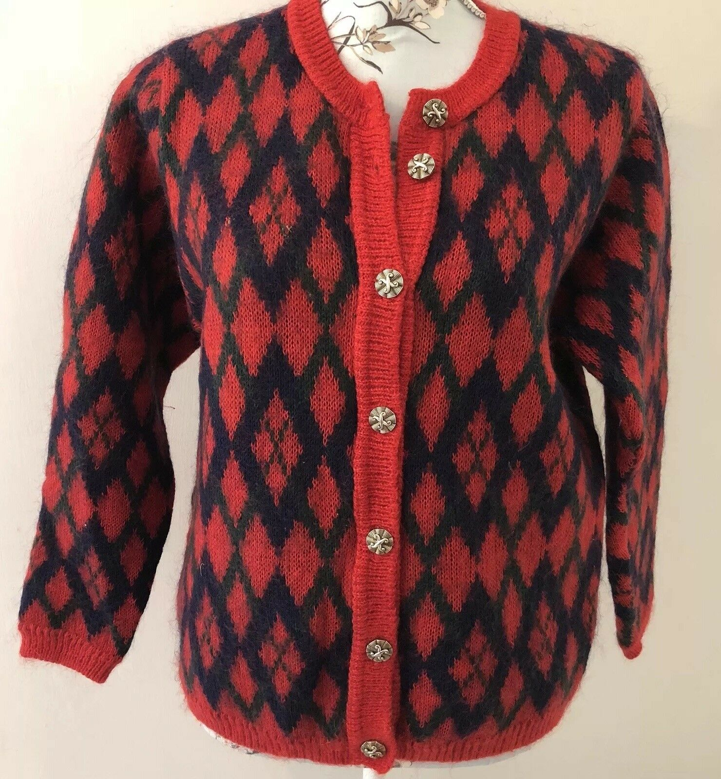 Vintage Edinburgh Red bluee Mohair Mix Diamond Argyle Button Up Cardigan Sz Small