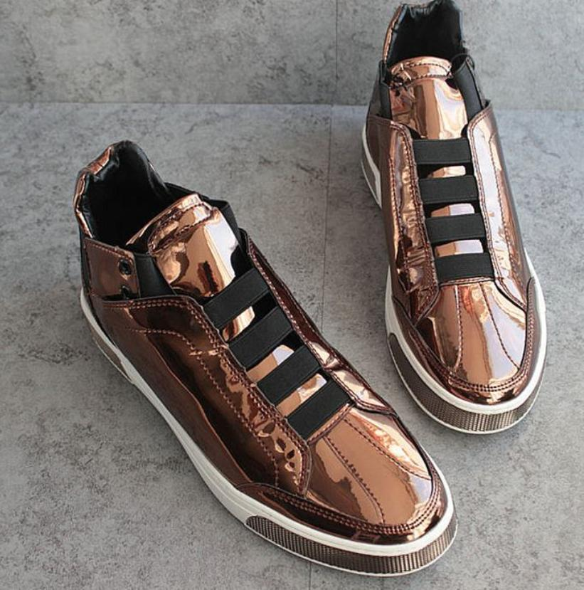 Mens Patent Leather Round Toe High Top Club shoes Casual Fashion Sneakers Sz B