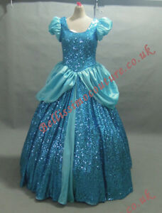 PLUS SIZE Disney Princess Cinderella DRESS Blue Sequins Costume ...