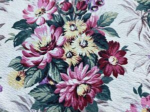 30s Hollywood Glam Chrysanthemums Barkcloth Vintage Fabric Drape Curtain Cottage