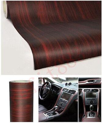 Car Wood Textured Grain Vinyl Wrap Sticker Decal Film Rosewood Brown 0.6M x 1.2M