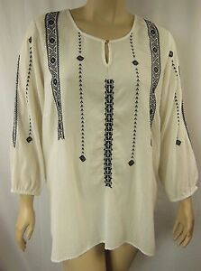 Autograph-Ivory-Embroidered-3-4-Sleeve-Peasant-Tunic-Top-Plus-Size-20-BNWT-M96