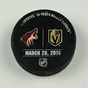 Vegas-Golden-Knights-Warm-Up-Puck-Used-3-28-18-VGK-Vs-Arizona-Coyotes-Game