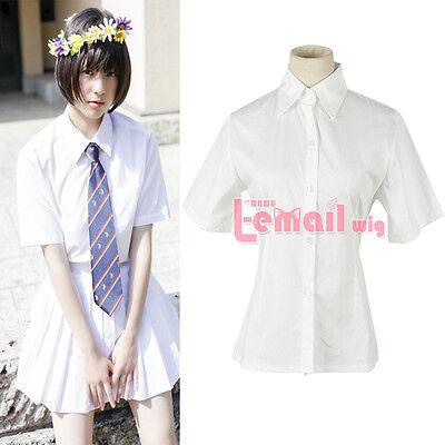 Girls School Maid Costume Cosplay Kostüm Student Uniform White Bluse