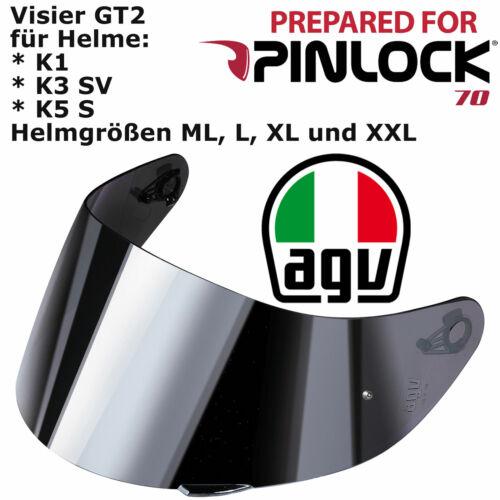 AGV Visière gt2 argent pour k1//k3 sv//k5 S Pinlock Préparé TAILLE ML L XL XXL