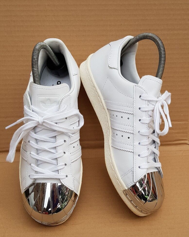 Adidas Superstar années 80 Blanc & Argent Metal Toe Baskets Taille 5 UK Immaculée