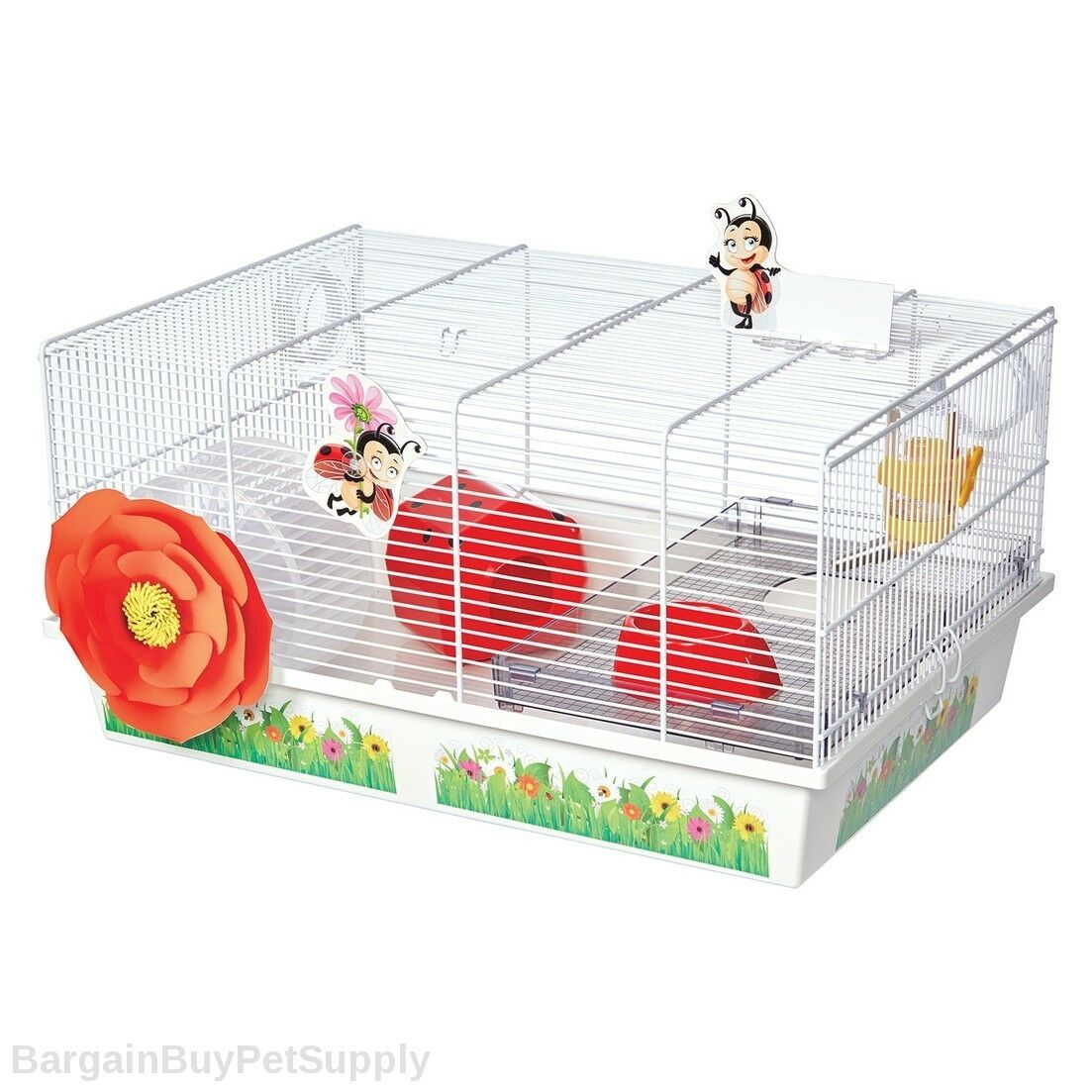 Midwest Critterville Ladybug Hamster Cage Home White Red