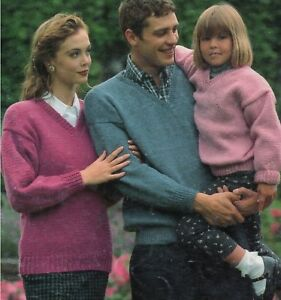 Easy-Knit-Sweater-V-neck-Knitting-Pattern-Chunky-Aran-DK-4ply-24-46-034-1138