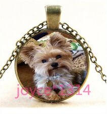 Yorkshire Terrier Cabochon bronze Glass Chain Pendant Necklace TS-6032