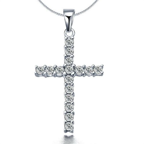 Silver Cross Crystal Pendant Necklace Love Charm Cable Chain 17/'/' New