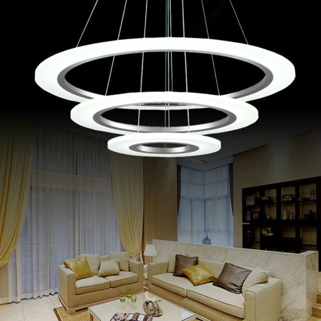 LED Galaxy Rings Acrylic Chandelier Pendant Light Ceiling Lamp Lighting Living