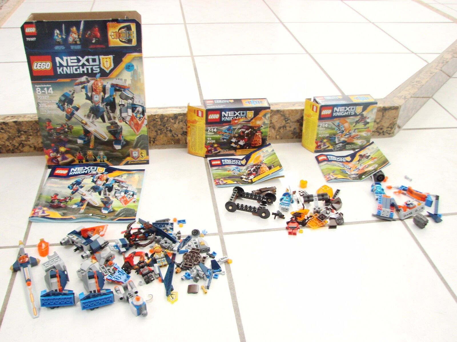 Nexu Knights Lot of 3 sets 70311 70327 70310  Figures Instructions, missing pcs