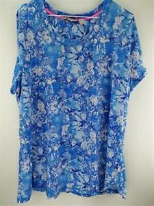 Isaac Mizrahi Live! SOHO Marble Printed Tulip Hem Knit Top Blue Size Medium