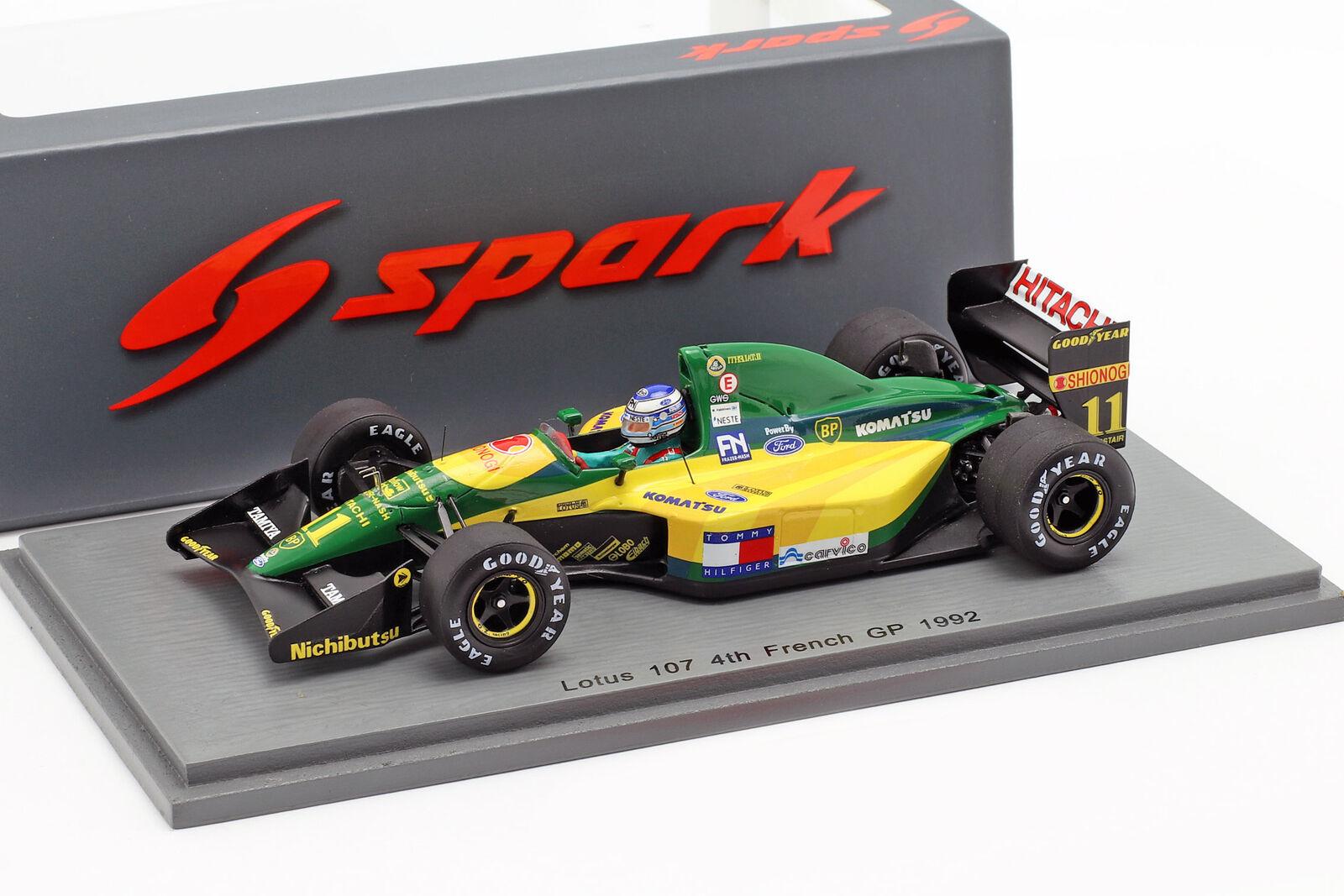 Mika Häkkinen Lotus 107 #11 4th FRANCIA GP Formula 1 1992 1:43 SPARK