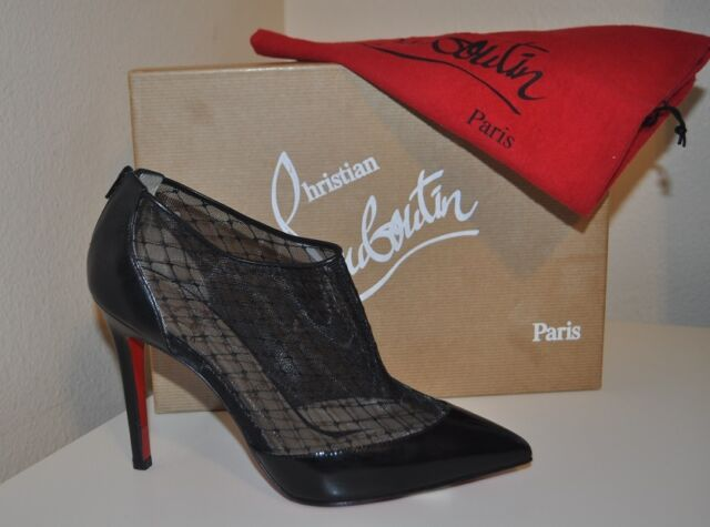 timeless design 615ed e525d Christian Louboutin FILETTE Patent-fishnet Mesh Ankle Bootie Black Heel  BOOTS 38