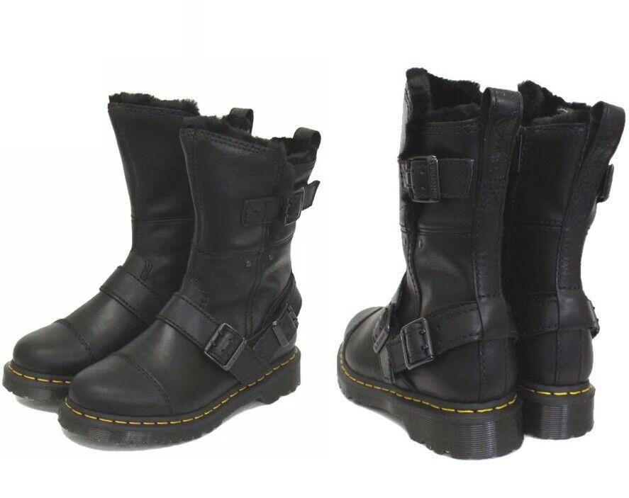 NEW Dr. Martens Women's Kristy Mid Calf Faux Fur Black Luxor Leather Boots