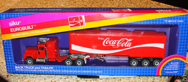 SIKU EUROBUILT MACK TRUCK &TRAILER COCA COLA 1/55 #3117 WEST GERMANY