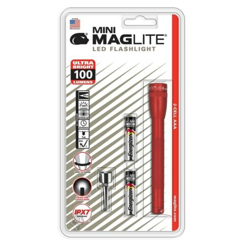 Maglite Sp32036 2 Cell Aaa Mini Led Flashlight Red-Blister Pack