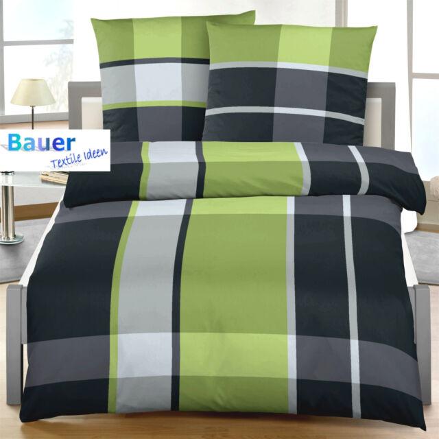Bettwäsche 200x240 + 40x80 cm Karo grün schwarz 47610 BIBER B Ware