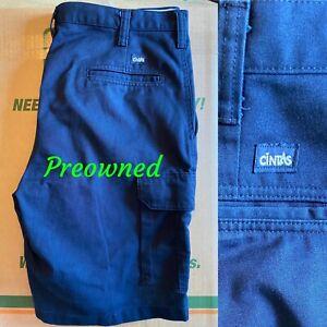 Seminuevo Pantalones Cortos Estilo Cargo De Trabajo Cintas Relajado Talla 34 370 20 Azul Marino Ebay