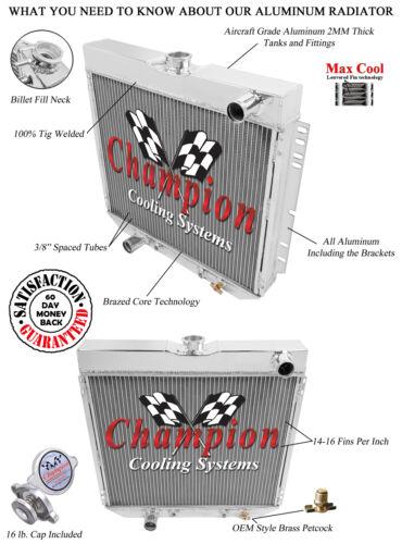 1966 67 68 69 70 Ford Falcon Champion 3 Row Core Alum Radiator