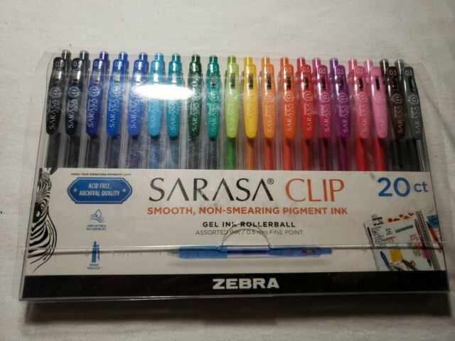 Zebra SARASA Clip 20ct Gel Ink Rollerball Assorted Ink 0.5mm FINE POINT Free S&H