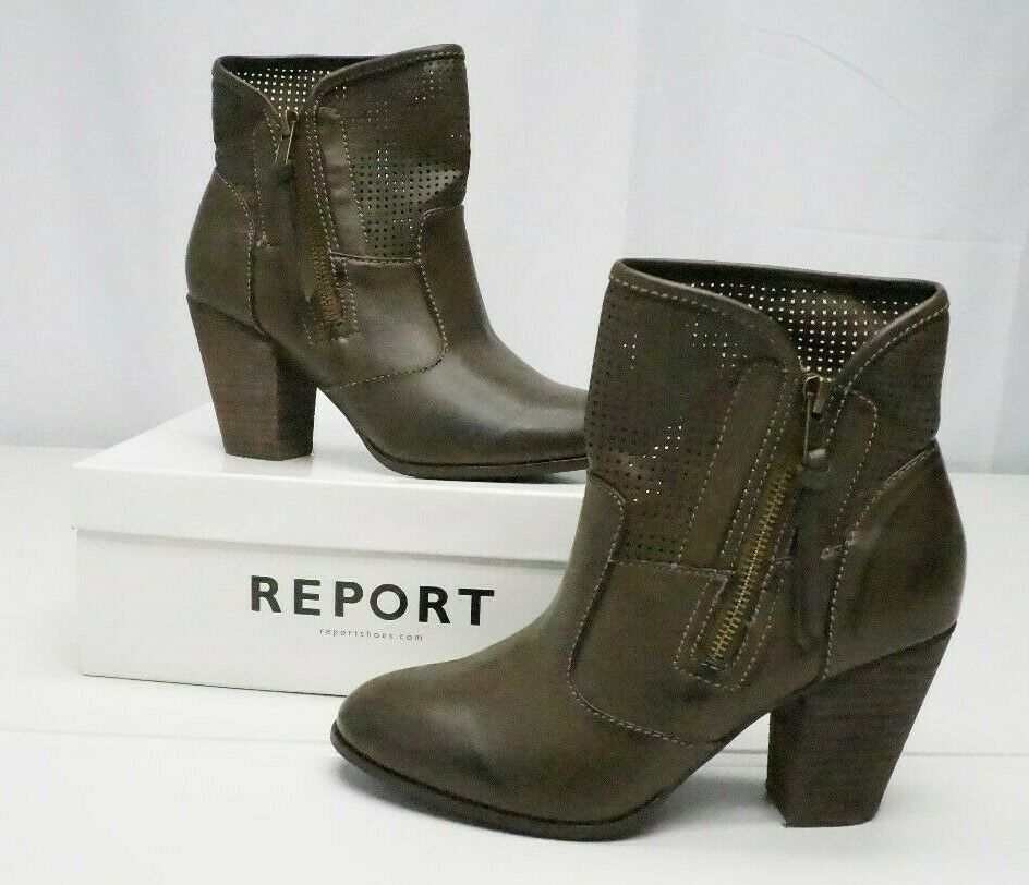 Report Footwear Womens 7.5 M Brown Jamie D Faux Leather Side Zip Ankle Boots NEW