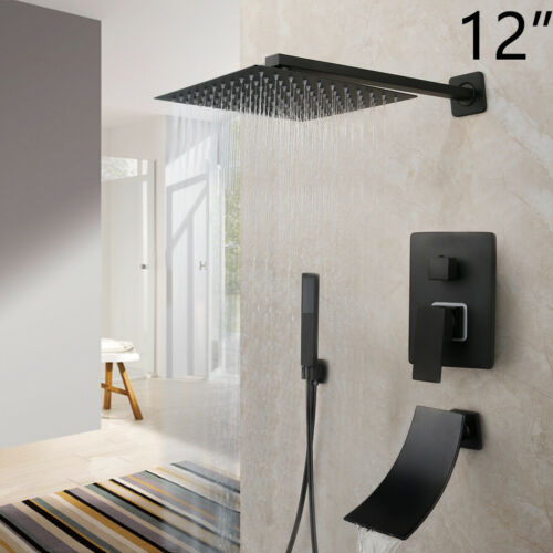 Shower Faucet Set Matte Black Square Rain Shower Heads Waterfall Tub Mixer Tap
