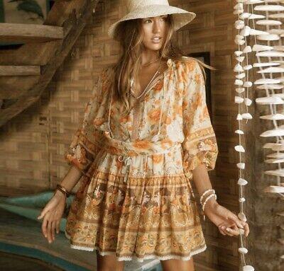 S New Boho Block Print Cotton Festival Tunic Dress Vtg 70s In Womens Size SMALL