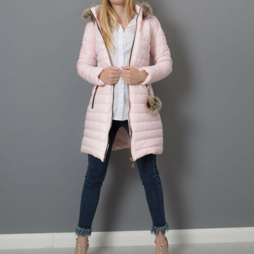 Manteau femme manteau capuche matelassé doudoune long à écologique fourrure 81298 PT6v1Pwqn