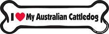 "Dog Magnetic Car Decal - Bone Shaped - I Love My Australian Cattle Dog - 7"""