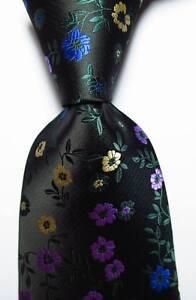 New-Classic-Floral-Black-Green-Purple-Blue-JACQUARD-WOVEN-Silk-Men-039-s-Tie-Necktie