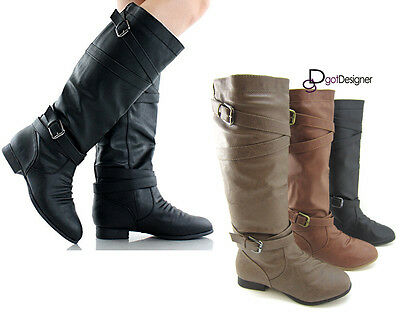 Women's Fashion Shoes Boots Knee-High Flat Motorcycle Riding Round Toe Slouch