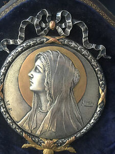 Frame-sainte-marie-velour-silver-xix-th-old-signed-doizy