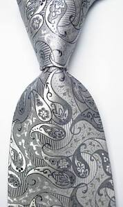 New-Classic-Paisley-Silver-Gray-JACQUARD-WOVEN-100-Silk-Men-039-s-Tie-Necktie