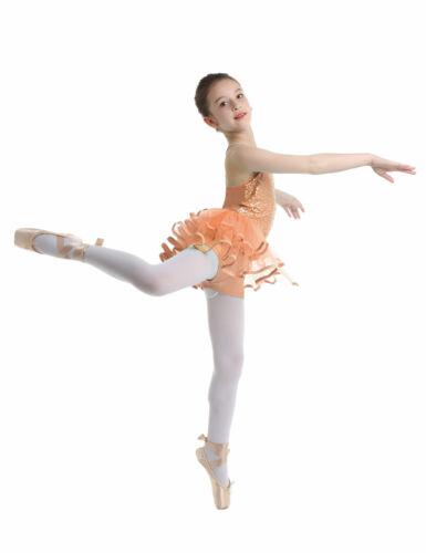 Girls Lyrical Ballet Dance Dress Latin Lace Sequins Leotard High Low-Hem Costume