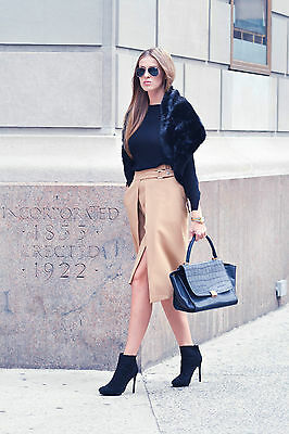 ZARA Woman BNWT Elegant Camel Tan Double Buckle Skirt S-M-L 7988/820 £59.99