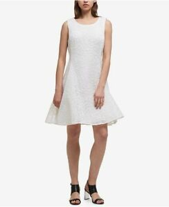 e410d82a499 NEW  520 DKNY WOMEN S WHITE TEXTURED FLORAL MESH FIT   FLARE DRESS ...