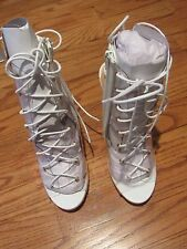 Liliana Clear Lace Up Stiletto High Heel Sandal Shoe White 8.5 NIB
