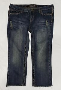 Rue21-Women-039-s-Juniors-Capri-Jeans-Distressed-Dark-Wash-Raw-Hem-Size-9-10