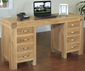 Image Is Loading Langton Solid Oak Office Furniture Large Twin Pedestal