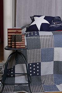 Tagesdecke-STARS-USA-Blau-180x260-amp-260x260-Vintage-Karos-Patchwork