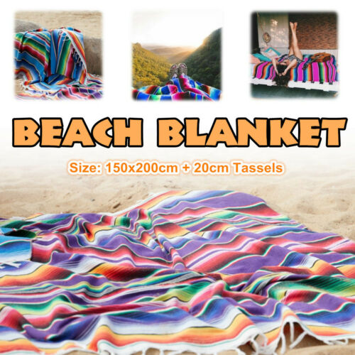 Multicolor Beach Blanket Mexican Tassel Mat Sofa Bed Travel Picnic Camping