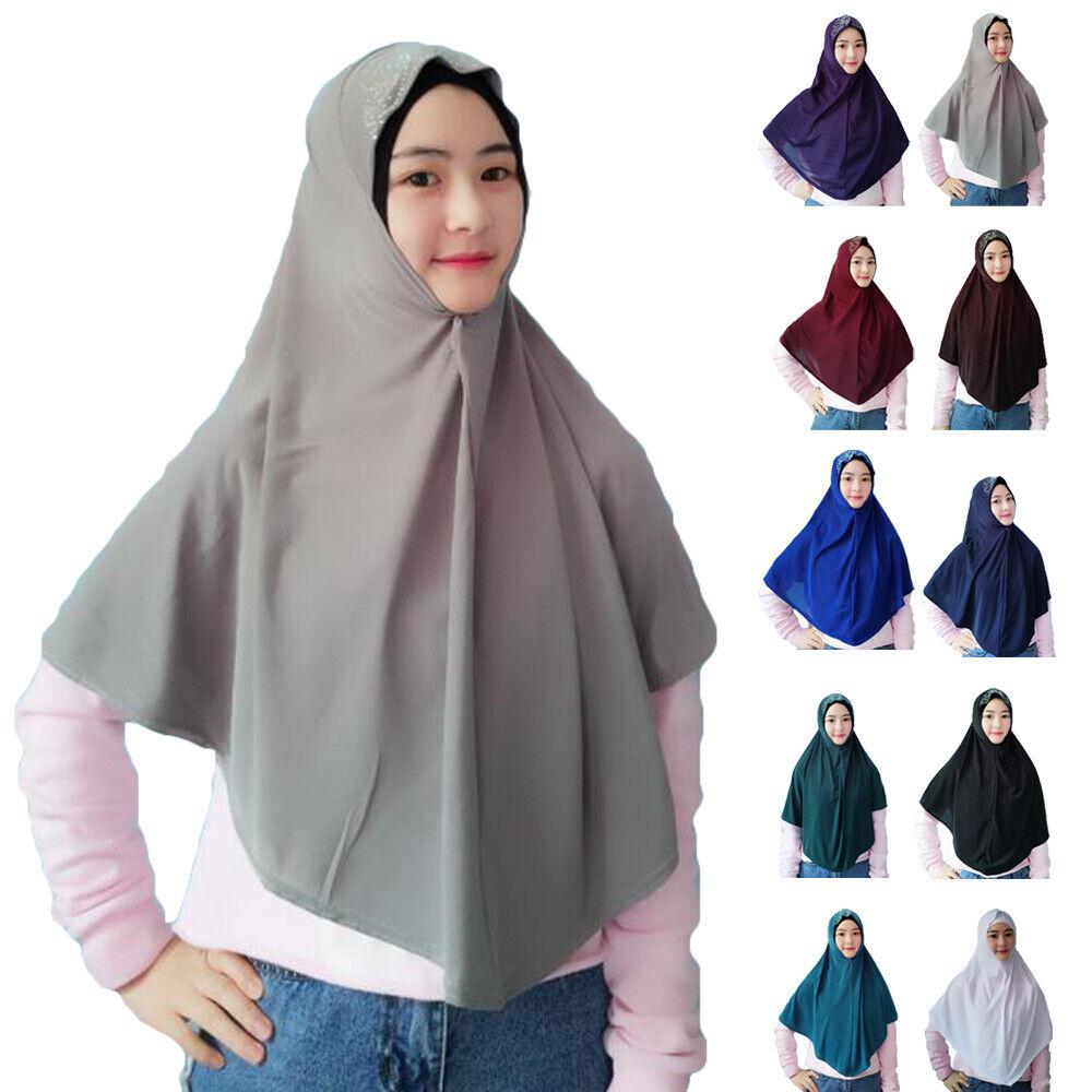 One Piece Amira Muslim Women Hijab Islamic Pull On Scarf Shawl Head Wrap Khimar