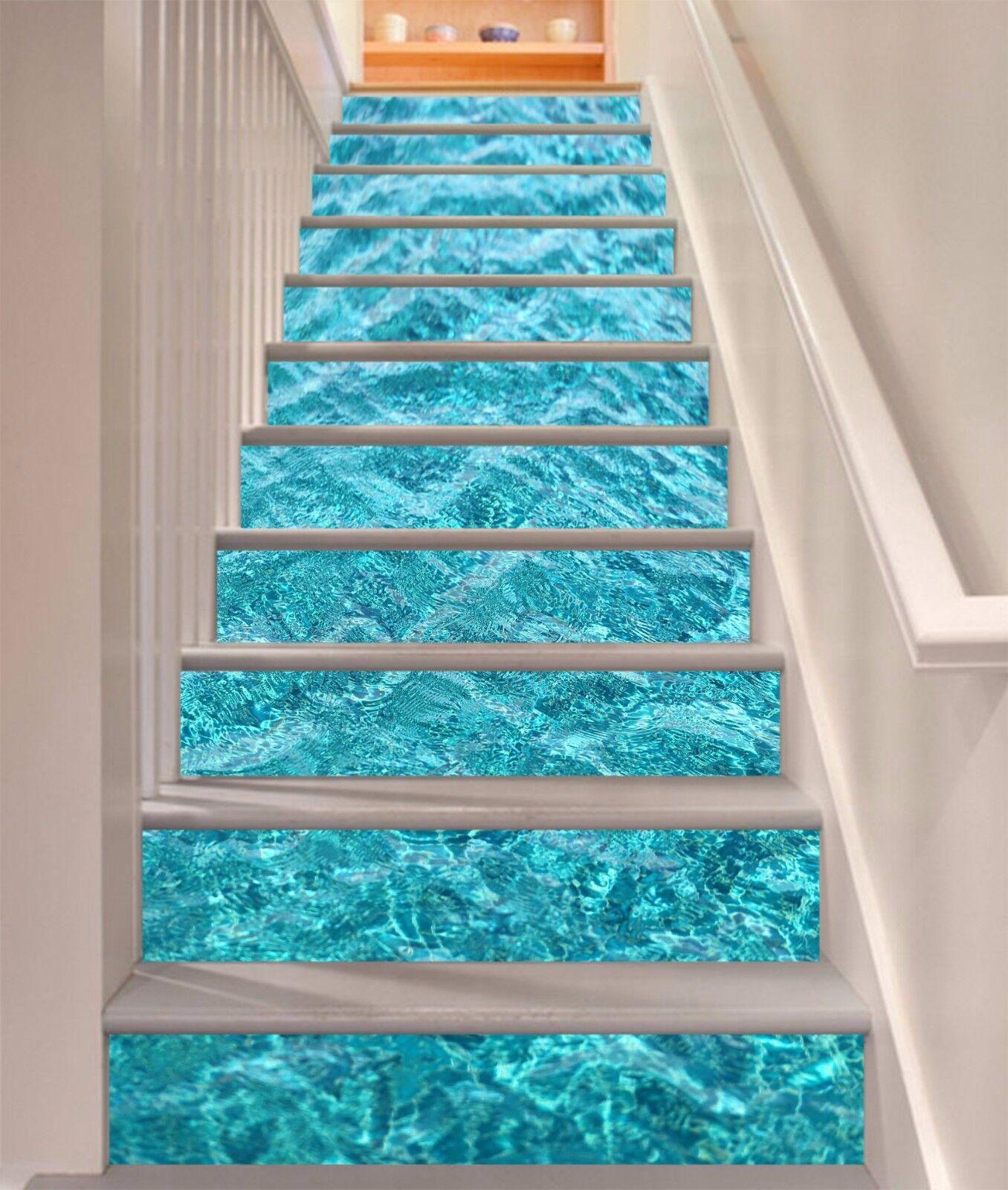 3D bluee Seawater 83 Stair Risers Decoration Photo Mural Vinyl Decal Wallpaper AU