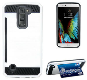 WHITE-RUGGED-TPU-RUBBER-HARD-SHELL-CASE-STAND-COVER-FOR-LG-K7-and-LG-TRIBUTE-5